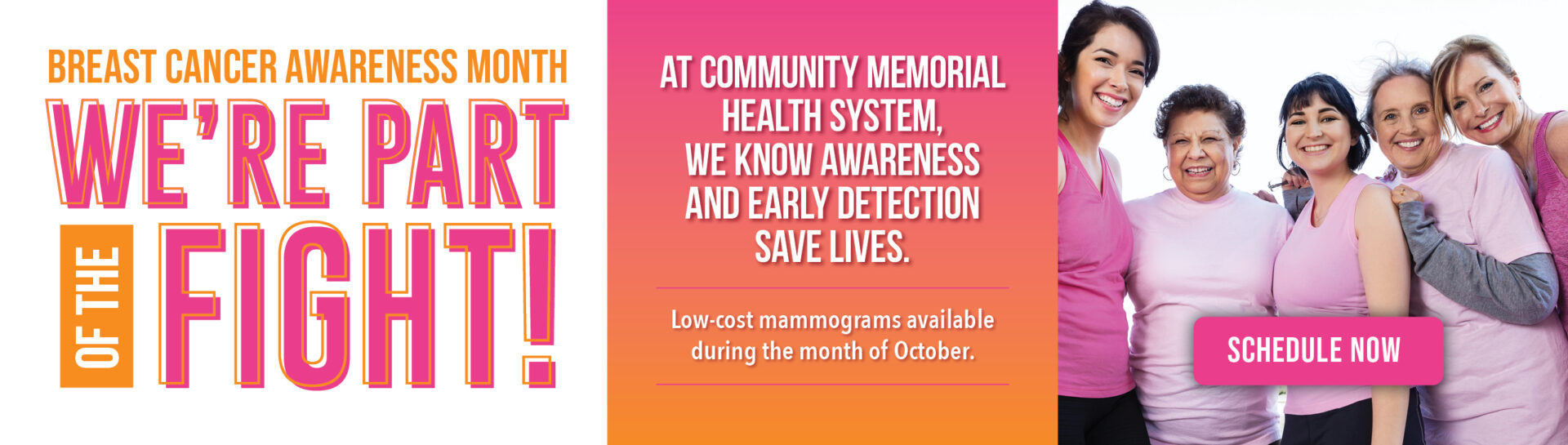 Low-cost mammograms are available during the month of October. Schedule now.
